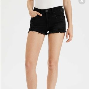 American Eagle High Rise Shortie Black Lace Shorts